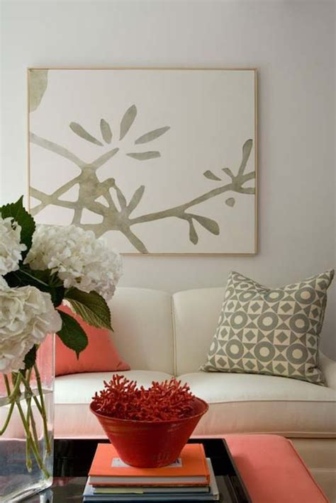 Coral And Gray Living Room by Design Chic Coral Gray Living Room Design