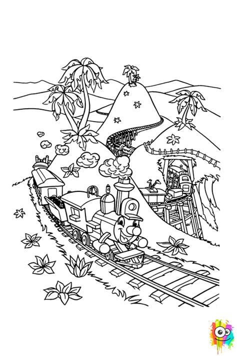 casey junior locomotive coloring page