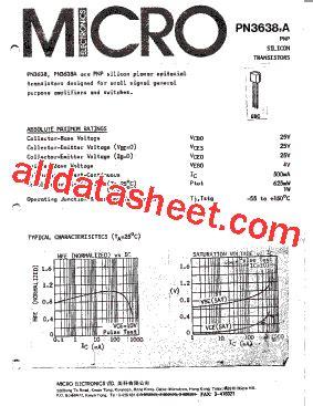 Transistor 3638 Transistor Mps3638a Pnp Transistor pnp3638a データシート pdf micro electronics