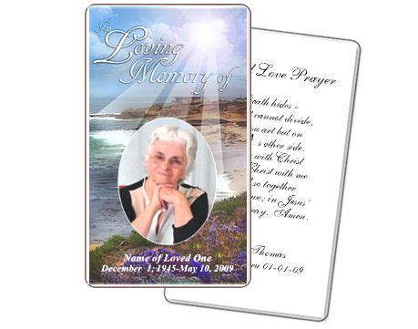 prayer cards template free funeral prayer cards seascape prayer card templates