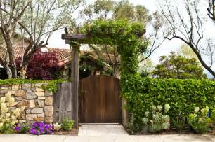 napa valley gate with trellis mediterranean landscape
