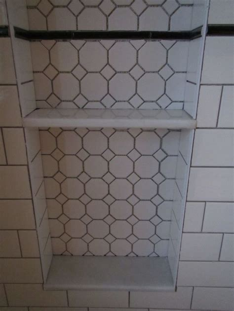 bathroom alcove shelves my bathroom reno shower niche alcove with hexagon tile