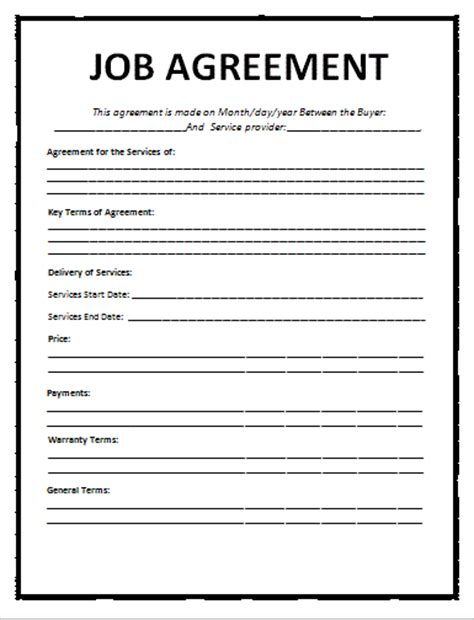 position agreement template agreement template free word templatesfree word