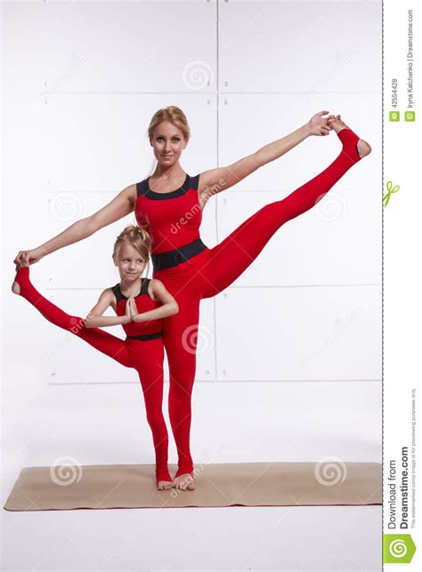 Wh Floor Plan by Mother Daughter Doing Yoga Exercise Fitness Gym Wearing