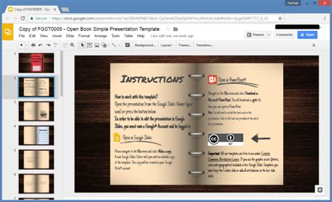 open office templates for books open book google slides template