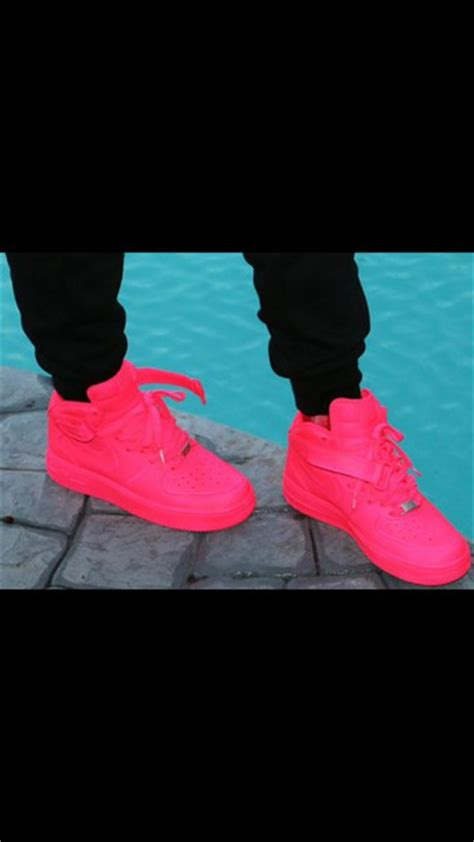 Nike One High Pink shoes air forces pink neon pink nike air 1s