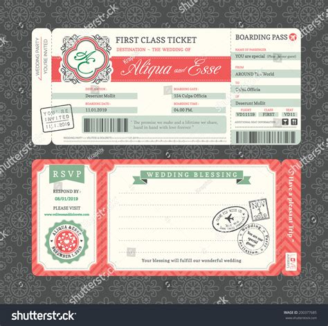 Vintage Boarding Pass Ticket Wedding Invitation Stock Vector 200377685 Shutterstock Ticket Invitation Template