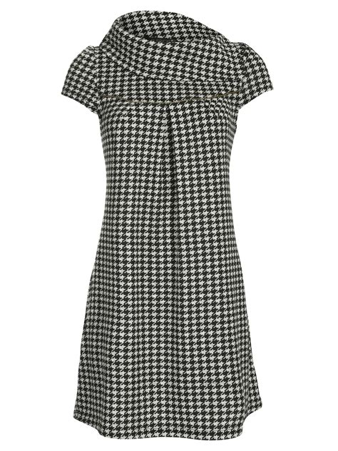 White Shirt Layer Houndstooth pussycat houndstooth print tunic in white black lyst