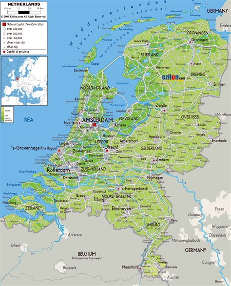 netherlands map and cities large physical map of netherlands with roads cities and