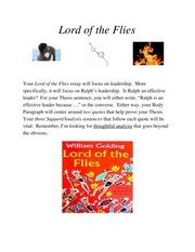 Lord Of The Flies Essay Prompts by La 9 Brophy College Preparatory Page 1 Course