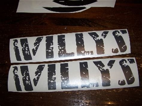 Jeep Willys Decal Jeep Wrangler Willys Decal Set