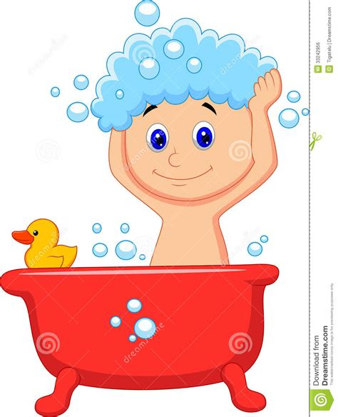 bathtub cartoon cute cartoon boy having bath royalty free stock image image 33242956
