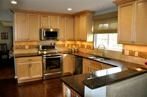 natural maple kitchen transitional   tone cabinets