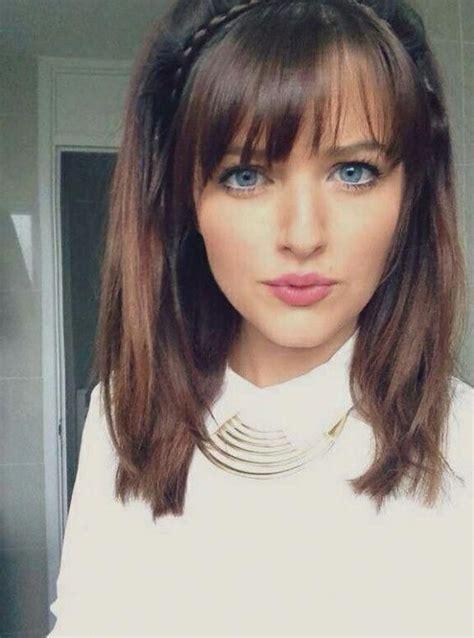 cute hairstyles  medium straight hair  bangs