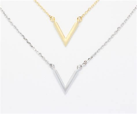 V Necklace chevron necklace n058 gold silver v triangle ebay