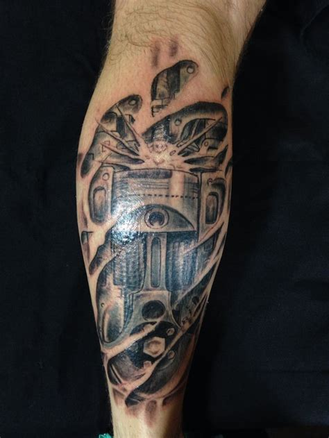 biomechanical motor tattoo piston tattoo by spirits in the flesh tattoo studio san