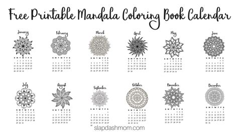 2018 coloring calendar books free printable 2018 calendar mandala coloring pages