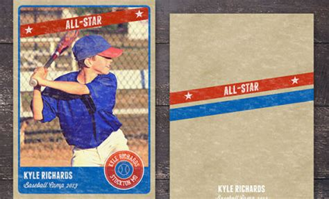 photoshop elements baseball card template sports photography card template minimal retro