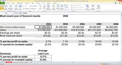 Free Corporate Earnings Analysis Template For Excel Powerpoint Presentation Sales Tax Excel Template