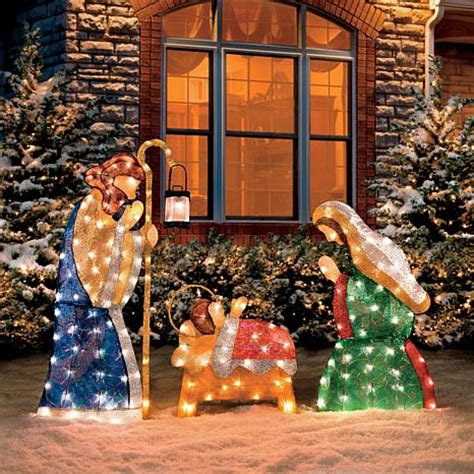large outdoor nativity clearance improvements set of 3 shimmering holy family nativity 7291414 hsn
