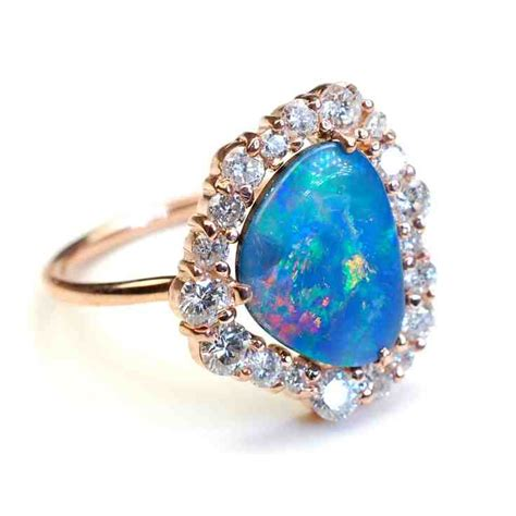 blue opal engagement rings wedding and bridal inspiration