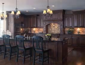 dark kitchens designs old world style kitchen with stone backsplash dark wood