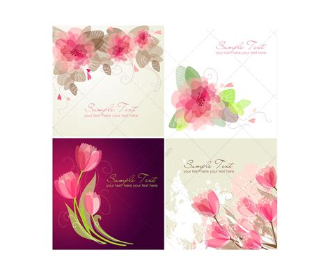 Flower Card Templates by Vector Greeting Cards With Flowers Floral Card Templates