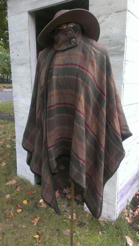Plaid Woolen Cape Cardigan 15946 nwt s ralph chaps wool plaid poncho cape