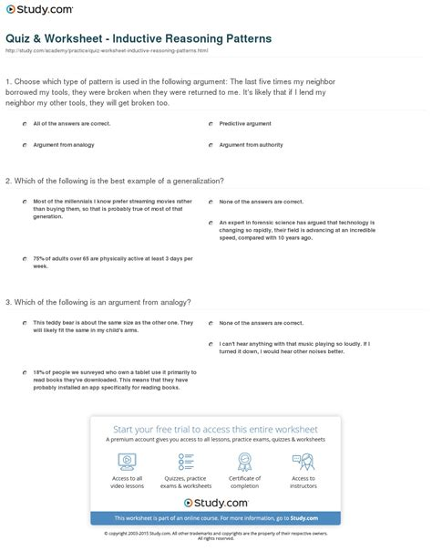 logic pattern worksheet inductive reasoning worksheets geersc