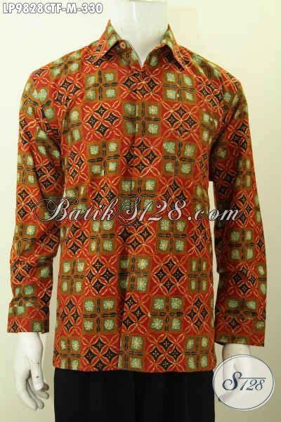 Batik Cap Laki Laki Lengan Panjang hem batik klasik pria terbaru busana batik jawa tengah