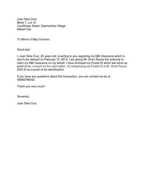 nbi clearance authorization letter sampledocx