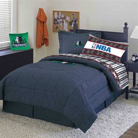 minnesota timberwolves team denim queen comforter sheet set