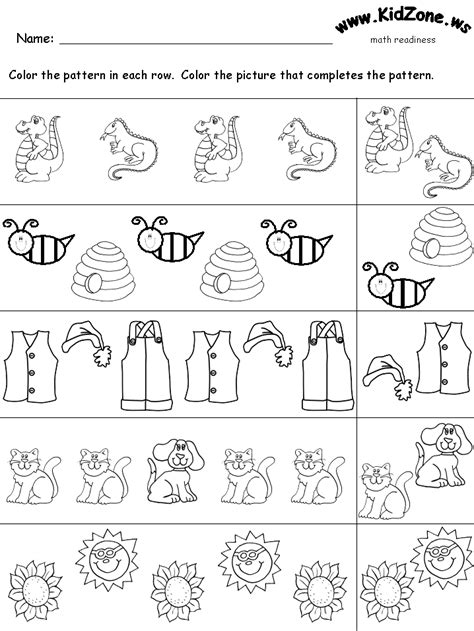 pattern activities pre k math readiness worksheet