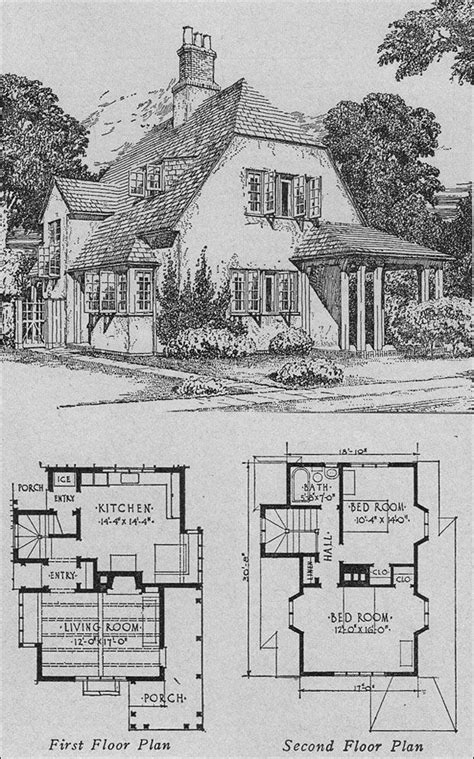 English Cottage Vintage House Plan B Architecture 1920s Cottage House Plans