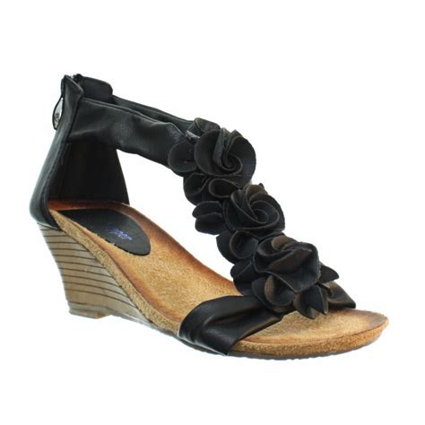 wedge strappy sandals womens low wedge soft comfy footbed floral strappy