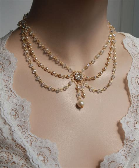 Retro Princess Pear Collar bridal necklace vintage necklace swarovski crystals ivory pearls deco rhinestone