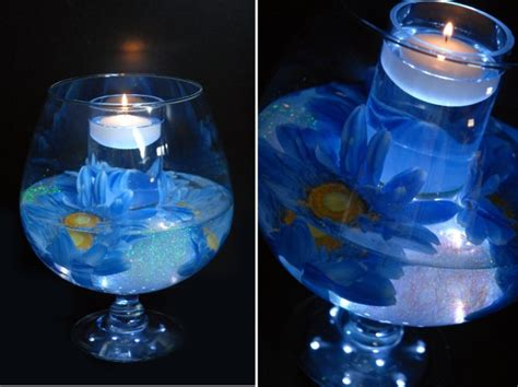 lighted flower centerpieces dinnissa s we think that the mix made between the yellow and the blue colors is simply
