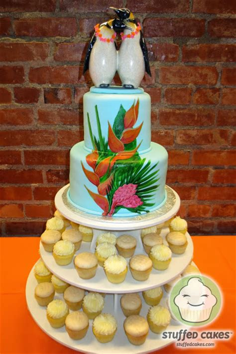 luau wedding cakes stuffed cakes hawaiian penguins wedding cake