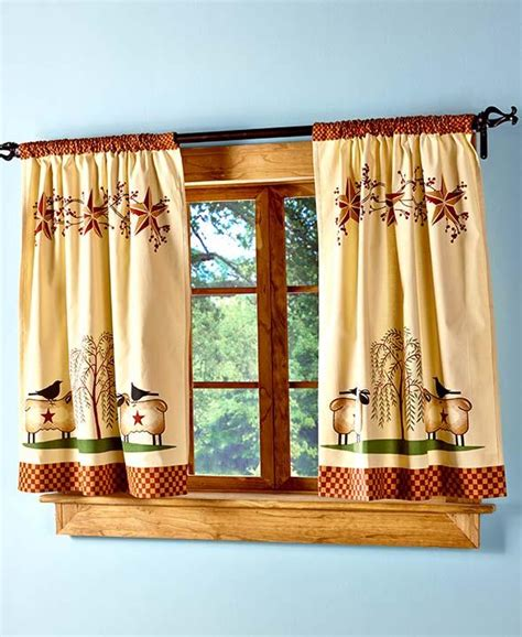 Primitive Kitchen Curtains New Primitive Country Folk Willow Tree Barn Kitchen Tier Curtain Set