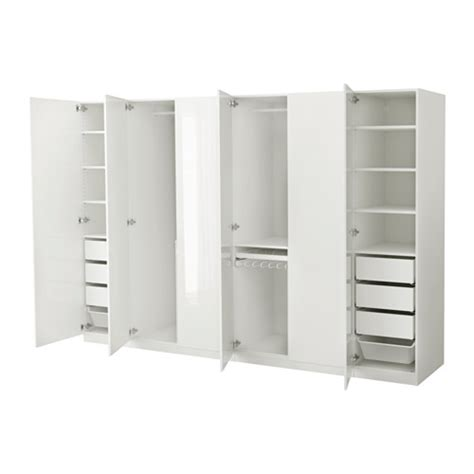 pax wardrobe white fardal high gloss white 300x60x201 cm