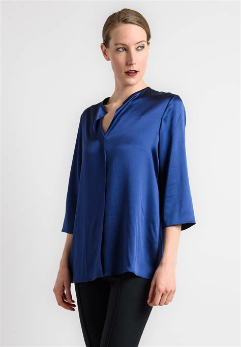Baju Blouse Blus Royal Satin satin royal blue blouse blouse with