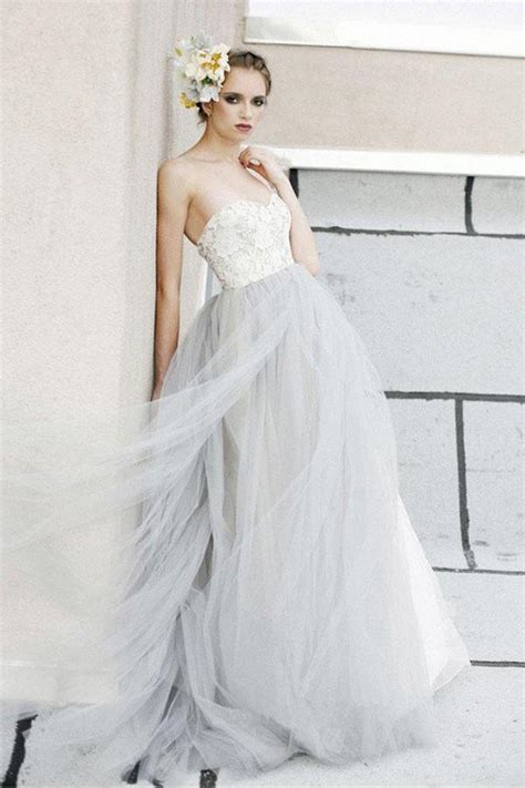 white   lace grey tulle strapless sweetheart neck