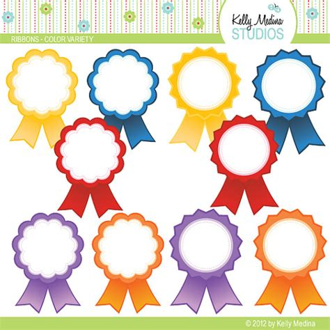 printable paper medals award ribbons color variety clip art set digital elements