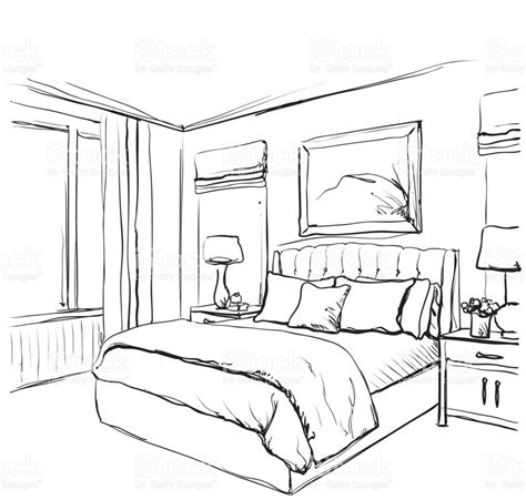 how to draw bedroom bedroom interior sketch hand drawn furniture stock vector