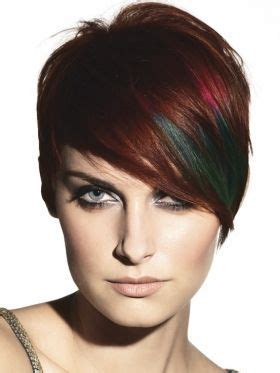 short modern hairstyles for women including blue streaks unusual short hair long fringe side sweep grey blue