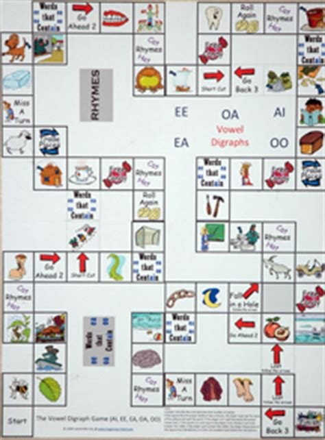 printable board games for phonics vowel digraph board game say and spell it