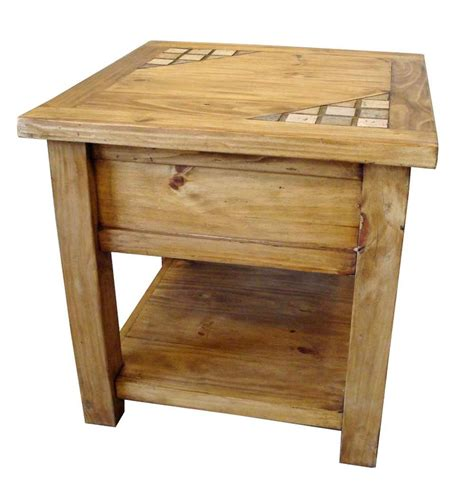 Wooden End Tables with Marble And Solid Wood Rustic End Table Special Order