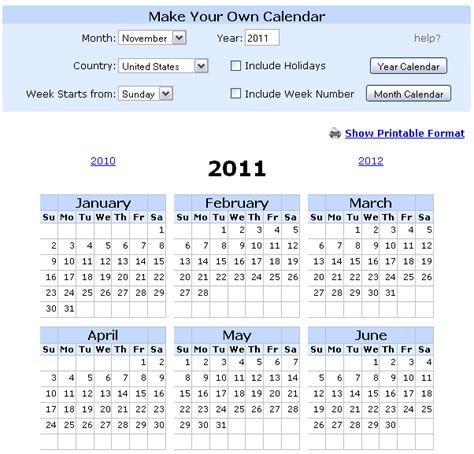 8 Best Calendar Ideas For 2011 by 8 Websites To And Print Calendar 2011 Web Cool Tips