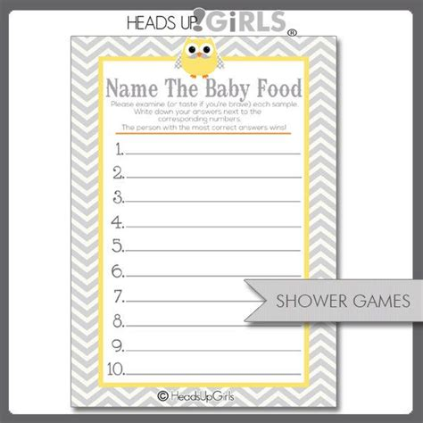 baby food guessing template digital printable yellow and gray mustache owl guess the