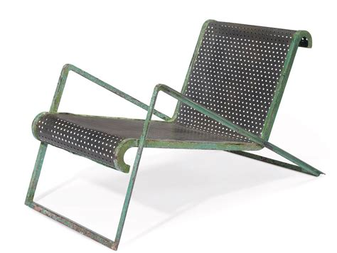 metal chaise jean royere 1902 1981 a painted perforated and tubular